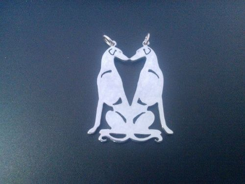 Saluki smooth  double pendant sterling silver Handmade Design by Marianne Felix
